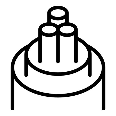 Three core cable icon, outline style