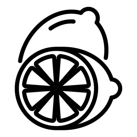 Lemon sliced in two icon, outline style