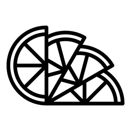 Lemon wedges icon, outline style Çizim