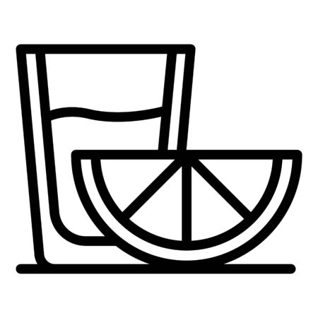 Glass and slice of lemon icon, outline style