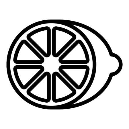 Half lime icon, outline style