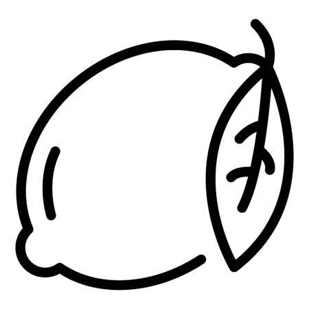 Lemon with leaf icon, outline style