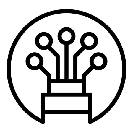 Optical cable in a circle icon, outline style