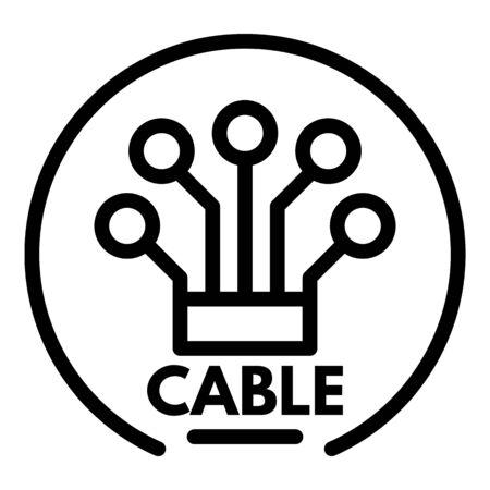 cable icon, outline style Illusztráció