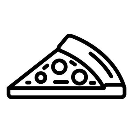 A piece of pizza with sausage icon, outline style Ilustração