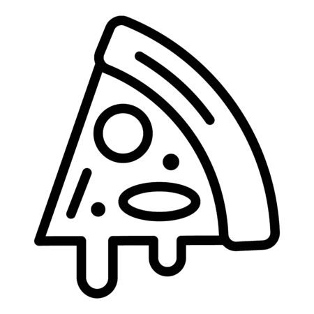 A slice of pizza with olives icon, outline style