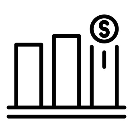 Currency chart icon, outline style