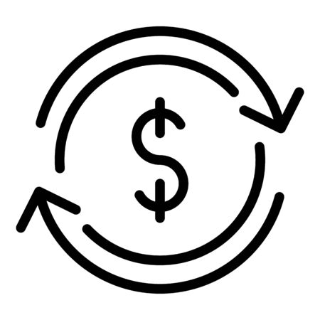 Currency conversion icon, outline style