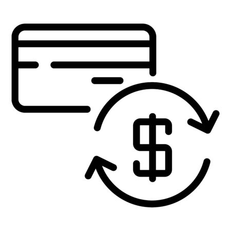 Dollar credit card with arrows icon, outline style Ilustrace