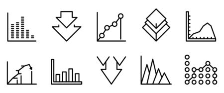 Regression icons set, outline style