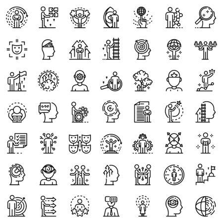 Conjunto de iconos de habilidades para la vida, estilo de contorno