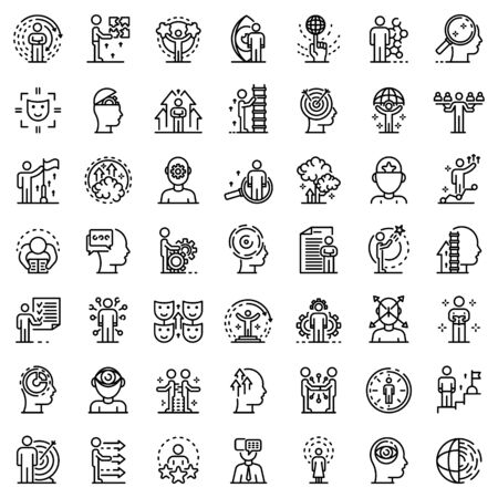 Life skills icons set, outline style