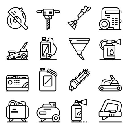 Gasoline tools icons set. Outline set of gasoline tools vector icons for web design isolated on white background