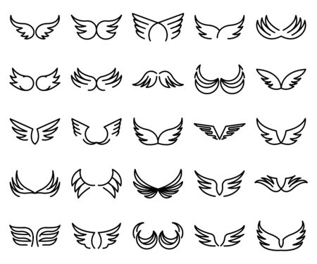 Wings icons set, outline style