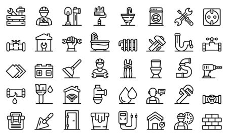 Repairman icons set, outline style