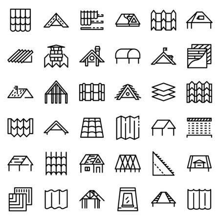 Roof icons set, outline style