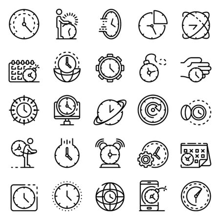 Deadline icons set, outline style