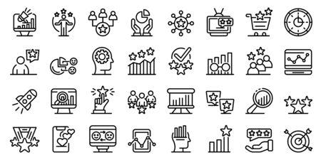 Reputation icons set, outline style Illusztráció