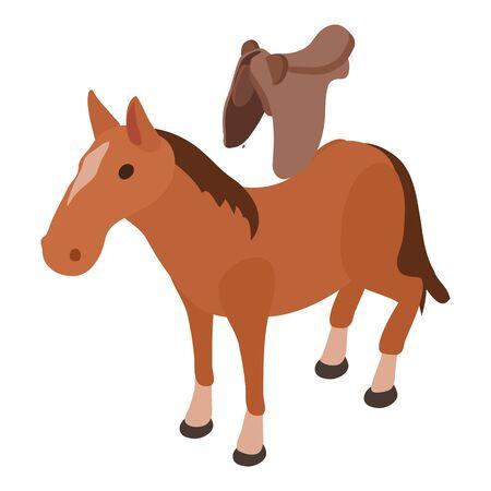 Saddled horse icon, isometric style Illustration