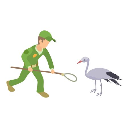 Catching stork icon. Isometric illustration of catching stork vector icon for web