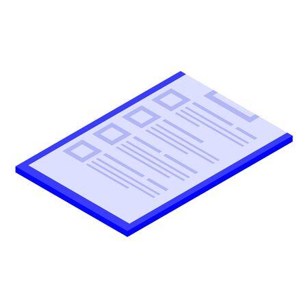 Pacient clipboard icon, isometric style Ilustración de vector