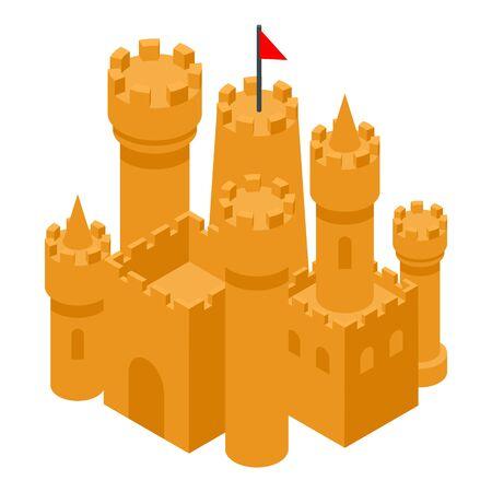 Beach sand castle icon, isometric style