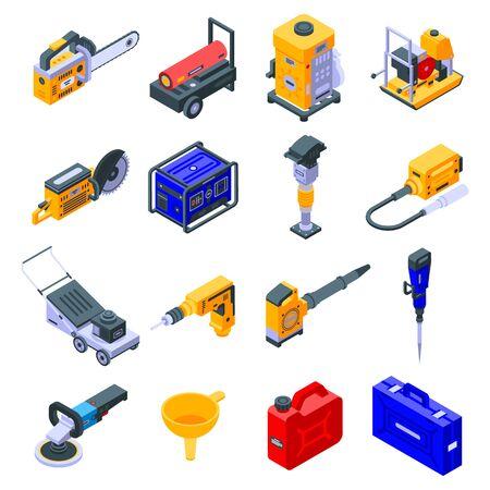 Symbole für Benzinwerkzeuge gesetzt. Isometrischer Satz Benzinwerkzeugvektorikonen für das Webdesign lokalisiert auf weißem Hintergrund