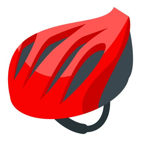 Red bike helmet icon. Isometric of red bike helmet vector icon for web design isolated on white background