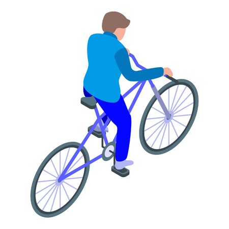 Boy ride bike icon. Isometric of boy ride bike vector icon for web design isolated on white background Çizim