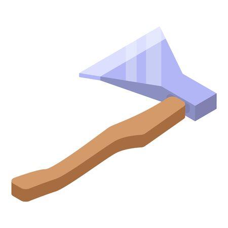 Wood axe icon, isometric style