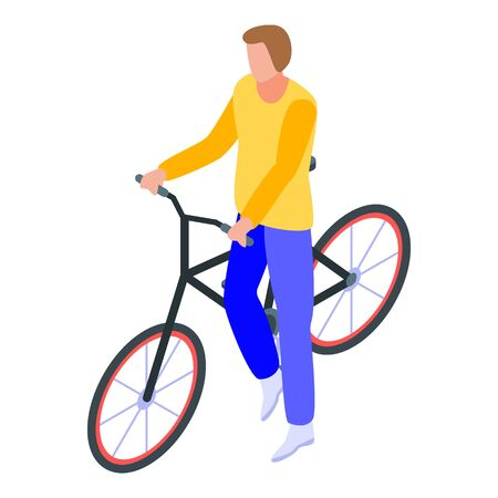 Student take bicycle icon. Isometric of student take bicycle vector icon for web design isolated on white background Ilustrace