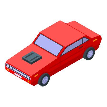 Alte rote Sportwagenikone. Isometrische der alten roten Sportwagenvektorikone für das Webdesign lokalisiert auf weißem Hintergrund