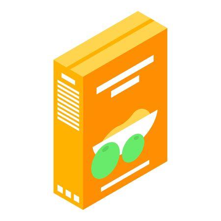 Icona del pacchetto alimentare di cereali. Isometrica dell'icona di vettore del pacchetto alimentare di cereali per il web design isolato su sfondo bianco