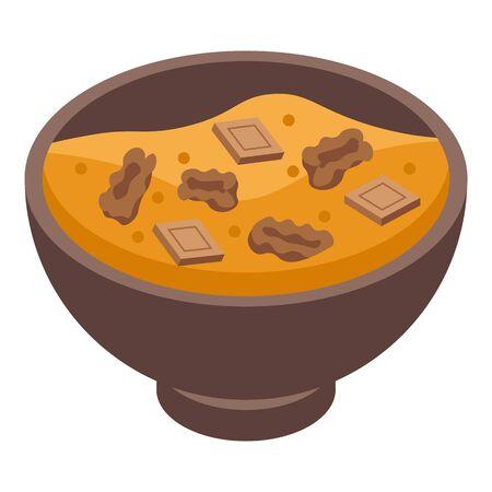Muesli bowl icon. Isometric of muesli bowl vector icon for web design isolated on white background Ilustração
