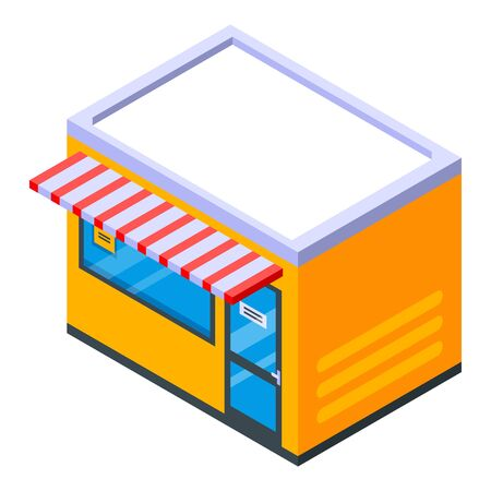 Street shop icon. Isometric of street shop vector icon for web design isolated on white background