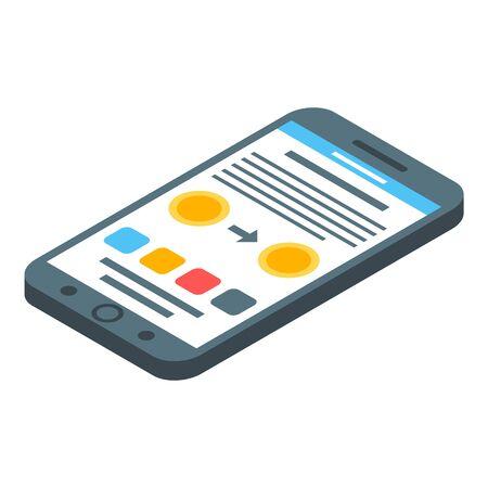 Smartphone money transfer icon. Isometric of smartphone money transfer vector icon for web design isolated on white background