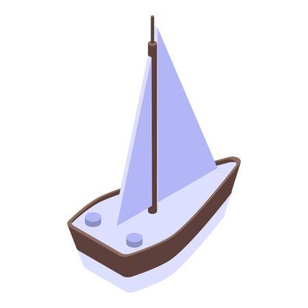 Ikona jacht morze. Izometryczny ikony wektora jachtu morskiego do projektowania stron internetowych na białym tle Ilustracje wektorowe