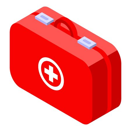 First aid kit bag icon. Isometric of first aid kit bag vector icon for web design isolated on white background