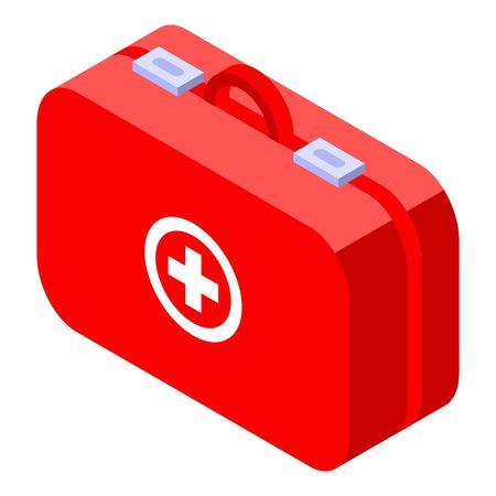 Symbol für die Tasche der Erste-Hilfe-Ausrüstung. Isometrisch des Vektorsymbols für die Erste-Hilfe-Ausrüstung für das Webdesign isoliert auf weißem Hintergrund