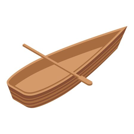 African wood boat icon. Isometric of african wood boat vector icon for web design isolated on white background