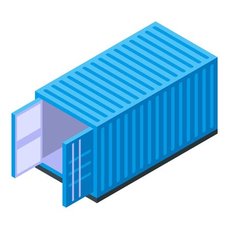 Blue cargo container icon, isometric style Banque d'images - 137580126