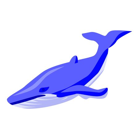 Blue whale icon, isometric style Illustration