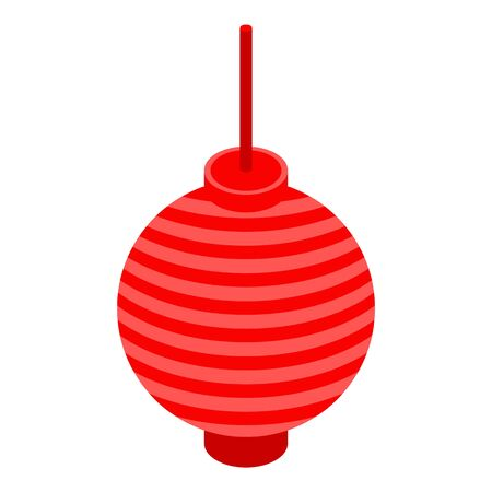 Red chinese lantern icon, isometric style  イラスト・ベクター素材