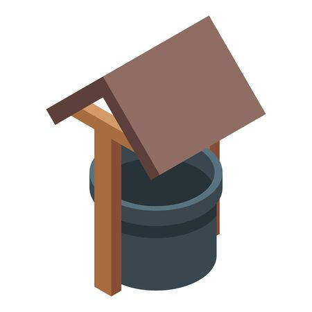 Nun mit einem Baldachin-Symbol. Isometrischer Brunnen mit einer Überdachungsvektorikone für das Webdesign lokalisiert auf weißem Hintergrund