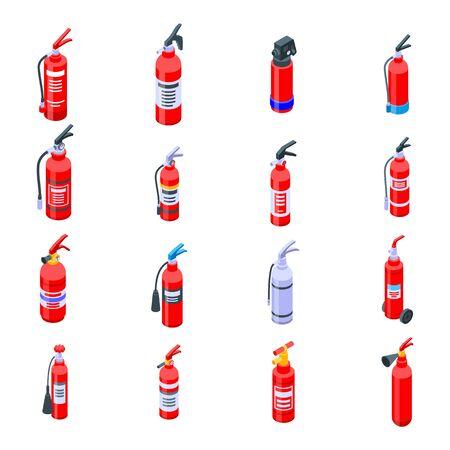 Fire extinguisher icons set, isometric style