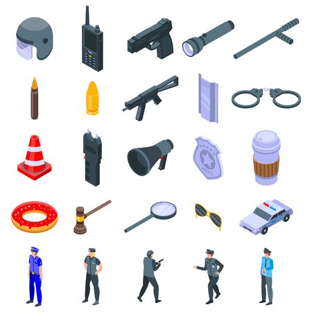 Police equipment icons set. Isometric set of police equipment vector icons for web design isolated on white background  イラスト・ベクター素材
