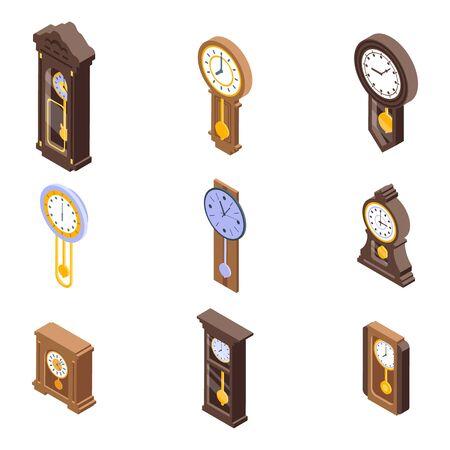 Pendulum clock icons set, isometric style