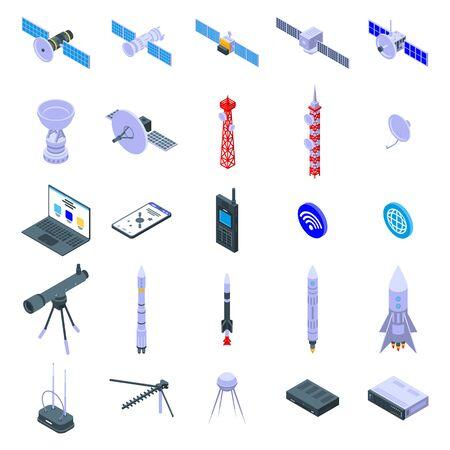 Satellite icons set, isometric style