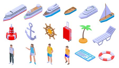 Cruise icons set, isometric style