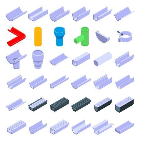 Gutter icons set, isometric style 向量圖像